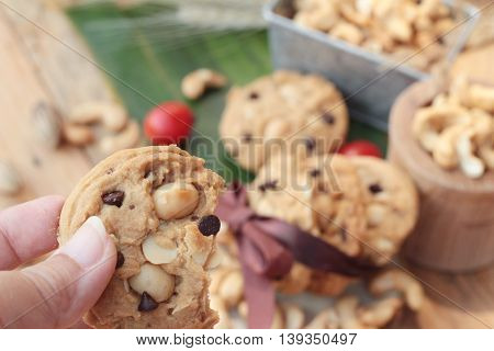 oatmeal cookies with chocolate and nuts is delicious
