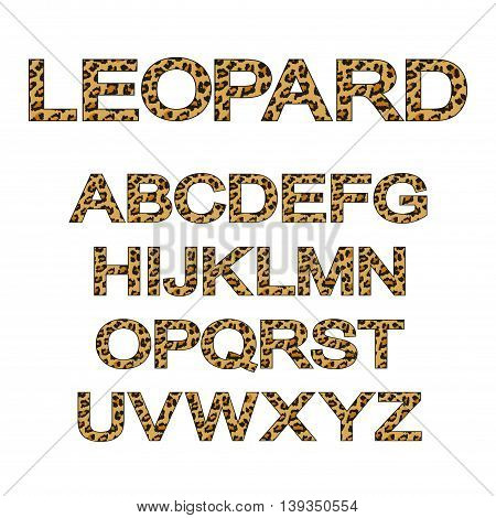 font set stylized in the shape of leopard skin. vector illustration