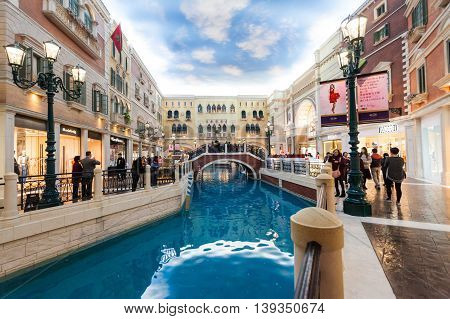 Taipa, Macau - February 4, 2015:  The Venetian Macao is a luxury hotel and casino resort in Macau owned by the American Las Vegas Sands company.