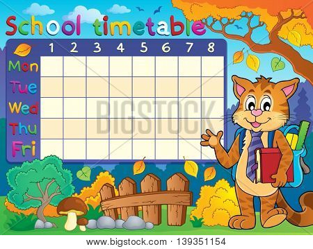 School timetable with cat - eps10 vector illustration.
