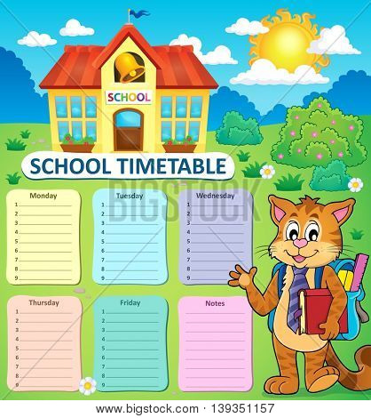 Weekly school timetable concept 2 - eps10 vector illustration.