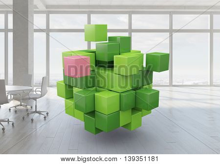 Cube in modern office . Mixed media