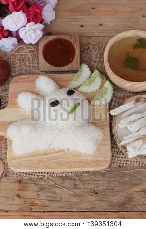 Rice steamed with chicken and soup delicious