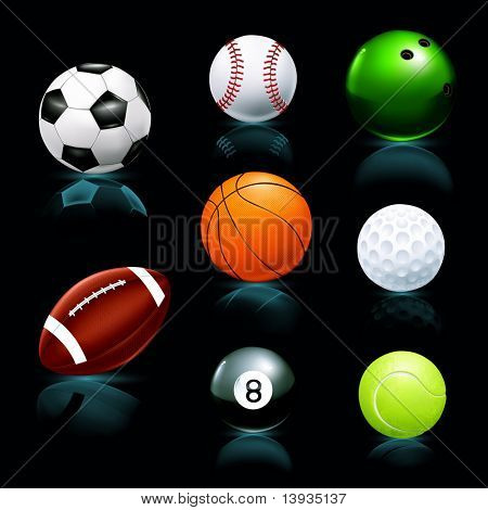 Balls set, black background