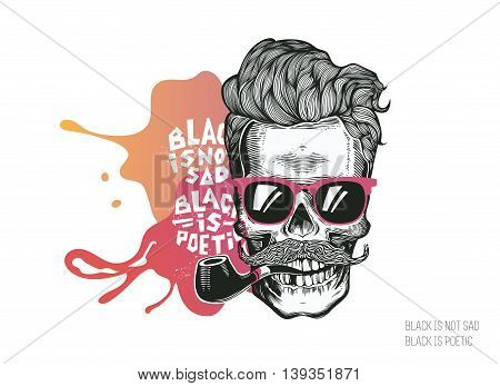 Skull. Hipster silhouette with mustache glasses and tobacco pipe on a colorful splash background. Vector illustration in modern engraving style. Perfect for t-shirt print.