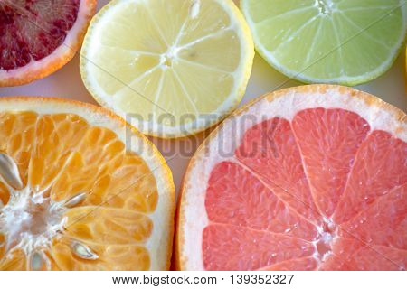 Closeup Of Blood Orange, Lemon, Lime, Mandarin And Grapefruit Slices