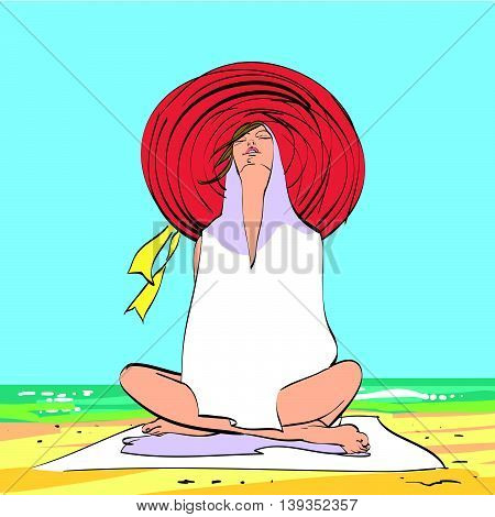 Young woman on the beach, relaxation and meditation. Tourism and travel to the sea