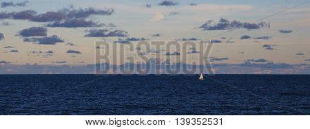 Evening scene in Sydney. Blue pacific clouds and sailing boat.