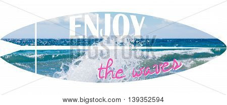 Surfboard illustration on photo of waves with written text