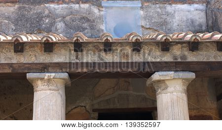 Fragments of Pompeii ruins. Ancient Roman city in Italy died from eruption of Mount Vesuvius.