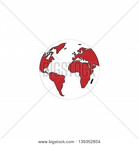 Pictograph of globe. Red flat simple modern illustration icon with stroke. Collection concept vector pictogram for infographic project and logo