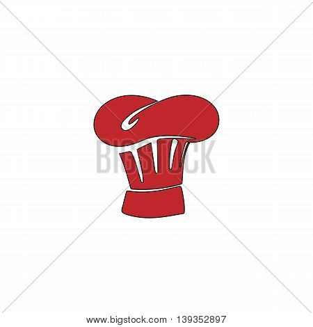 Chefs Hat. Red flat simple modern illustration icon with stroke. Collection concept vector pictogram for infographic project and logo
