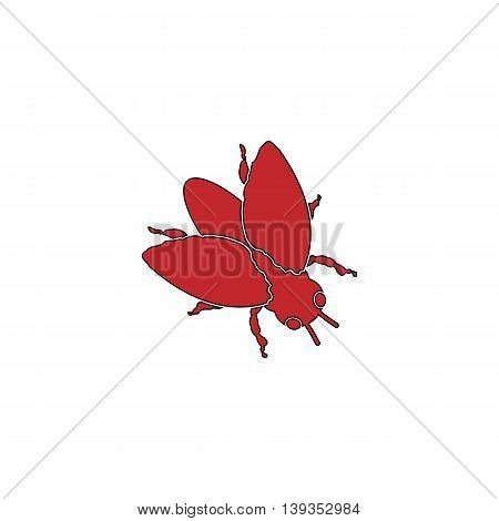 Stencil flies. Red flat simple modern illustration icon with stroke. Collection concept vector pictogram for infographic project and logo