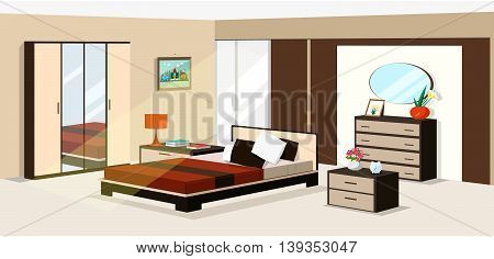 3d isometric bedroom design. Vector illustration of Modern room furniture: bed, wardrobe, nightstands, mirror, lamp, chest of drawers.