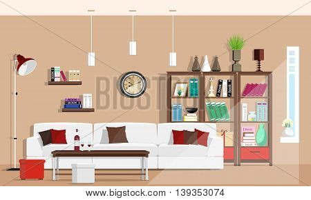Cool graphic living room interior design with furniture: sofa, chairs, bookcase, table, lamps. Flat style vector illustration
