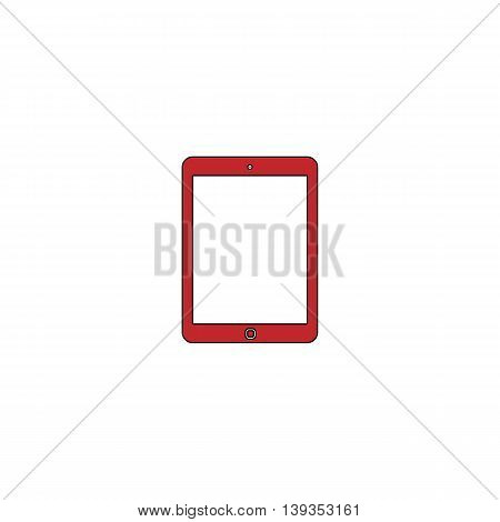 Tablet. Red flat simple modern illustration icon with stroke. Collection concept vector pictogram for infographic project and logo