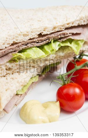Beef sandwich A fresh wholemeal sandwich stuffed with British beef