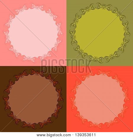 Decorative calligraphic frames set. Collection of round pattern designs with curves and swirls abstract background