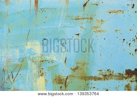 Rusted blue painted metal wall as background