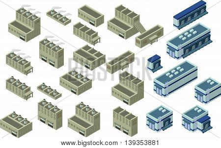 Industrial building infographic element isometric industrial factory,