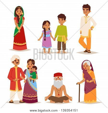 Vector illustration Ethnicity cheerful casual Indian people, traditional boy and girl character.