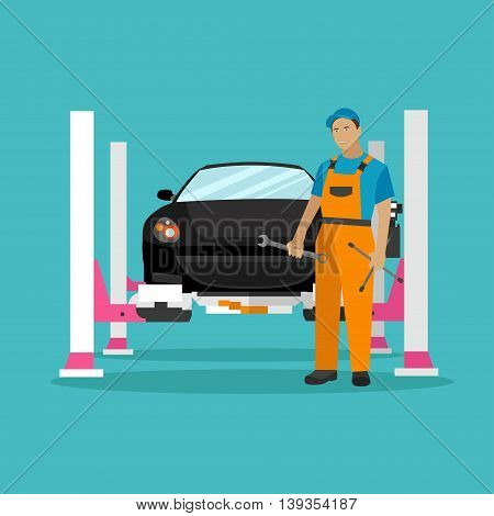 Car repair shop concept vector illustration in flat style. Design elements and icons. Auto mechanic with car repair equipment and tools. Garage service.