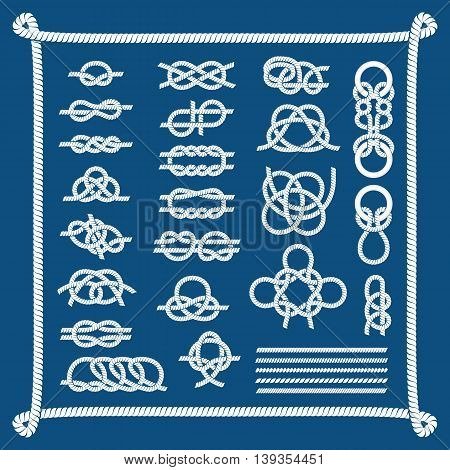 Navy blue rope with marine knots white pattern vector.