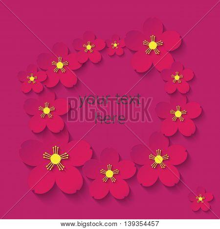 paper flowers claret frame hand, rose, cartoon