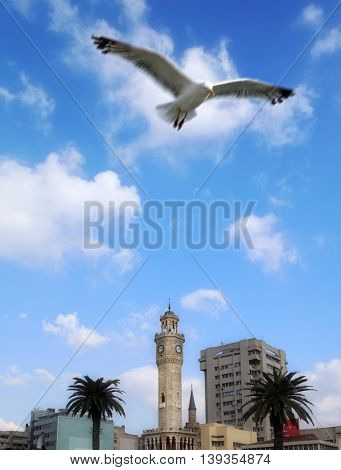 an image of clock tower in Izmir, Turkey