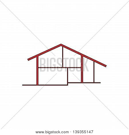 Modern house. Red flat simple modern illustration icon with stroke. Collection concept vector pictogram for infographic project and logo