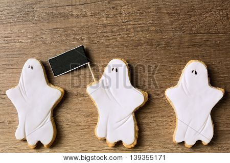 Happy halloween with three ghost background, close up