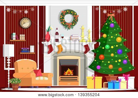 Colorful vector Christmas room interior design with fireplace, Christmas tree, gifts, decoration and modern furniture. Flat style vector illustration
