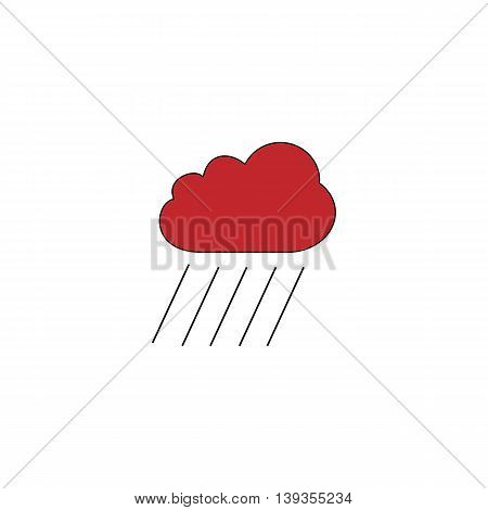 Cloud and rain. Red flat simple modern illustration icon with stroke. Collection concept vector pictogram for infographic project and logo