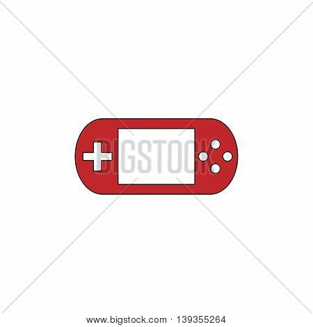 Handheld game console. Red flat simple modern illustration icon with stroke. Collection concept vector pictogram for infographic project and logo