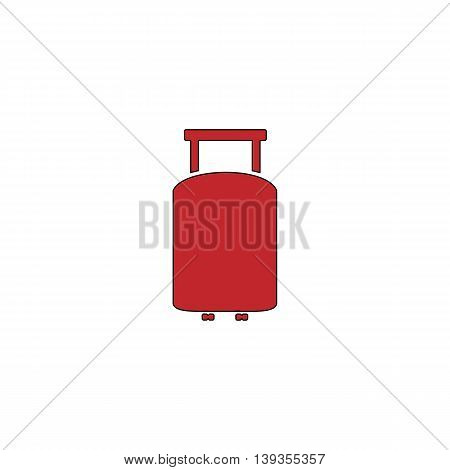 Travel suitcase. Red flat simple modern illustration icon with stroke. Collection concept vector pictogram for infographic project and logo