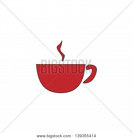 Hot Coffee cup. Red flat simple modern illustration icon with stroke. Collection concept vector pictogram for infographic project and logo