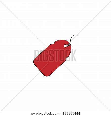 Tag. Red flat simple modern illustration icon with stroke. Collection concept vector pictogram for infographic project and logo