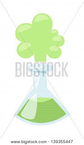 Laboratory flask with green liquid lab equipment vector