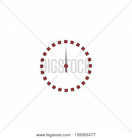 Scales screen circle. Red flat simple modern illustration icon with stroke. Collection concept vector pictogram for infographic project and logo