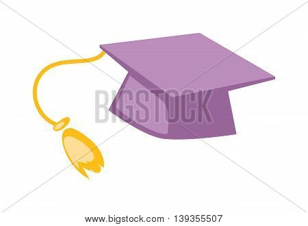 Graduation cap diploma hat icon vector illustration.