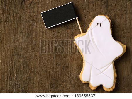 Halloween Ghost Holding Blackboard