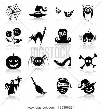Halloween Icons with Shadows on White Background