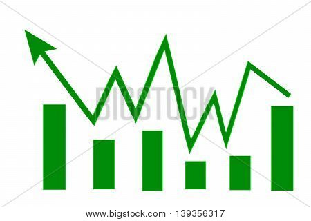 Green sign arrow - graph on a white background .  Concept success in business