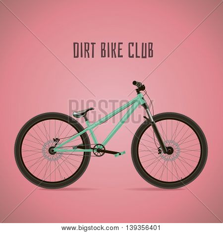 Sports bike. Detached with text on a pink background.