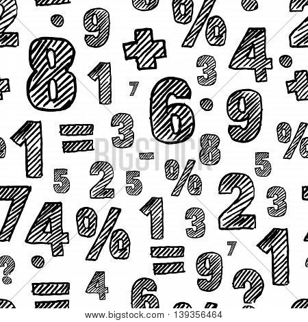 Vector Seamless Pattern With Hand Drawn Sketch Numbers.