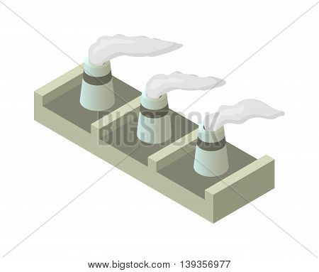 Isometric factory building vector icon. Industrial building infographic element isometric industrial factory,