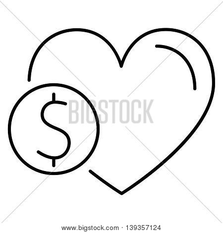 Donation line icon coin whithin big heart