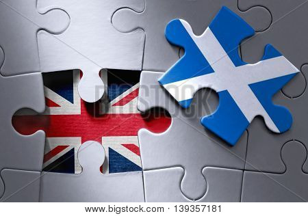 Missing piece from a UK jigsaw puzzle revealing UK flag with Scottish flag jigsaw piece on one side