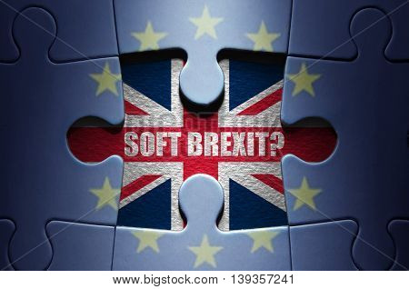 Missing piece from a European jigsaw puzzle revealing question on brexit
