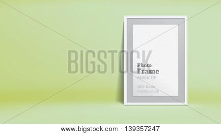 Vector, Blank Photo Frame In Pastel Lime Green Studio Room, Template Mock Up For Display Or Montage
